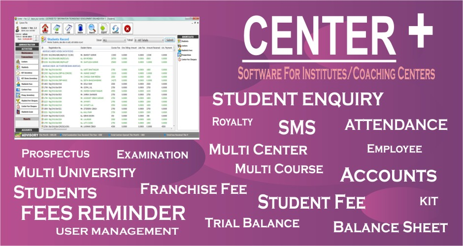 Center + (Institute / Coaching Center Software)