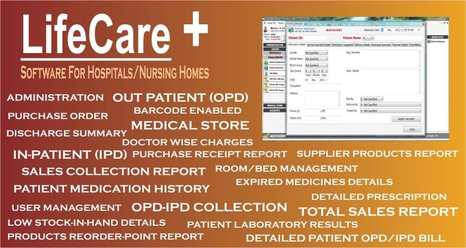LifeCare + (Hospital / Nursing Home Software)